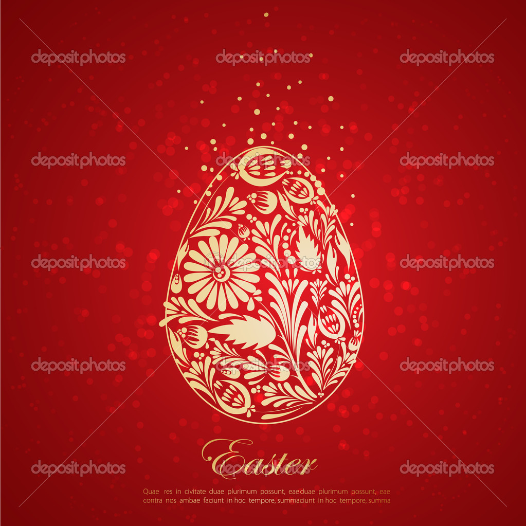 Floral golden easter egg. Vector