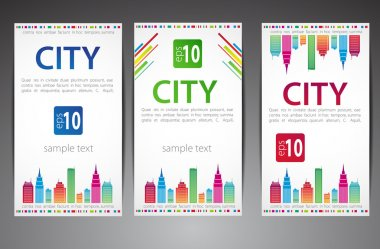 Set of cards. City theme. Vector