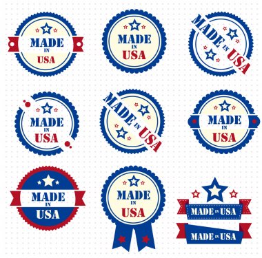 Set of labels MADE IN USA. Vector