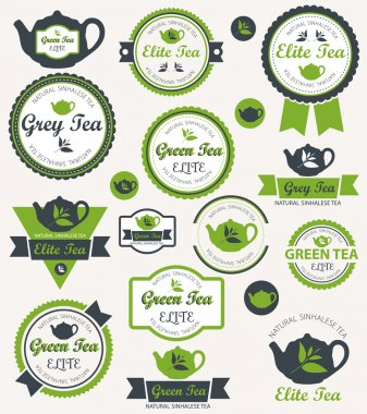 Set of vintage retro tea badges and labels. Vector