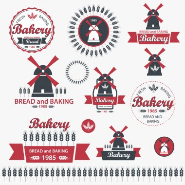 Set of vintage retro bakery badges and labels. Vector