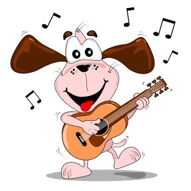 A cartoon dog a guitar
