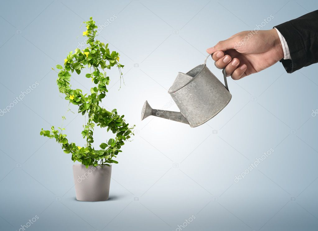 Businessman and watering pot