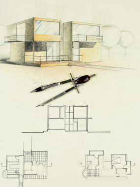 Architectural sketch of modern house with compasses