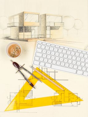 House sketch, coffee, square, keyboard and compasses