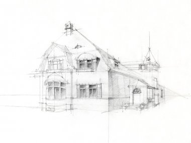 Pencil sketch old house on white paper