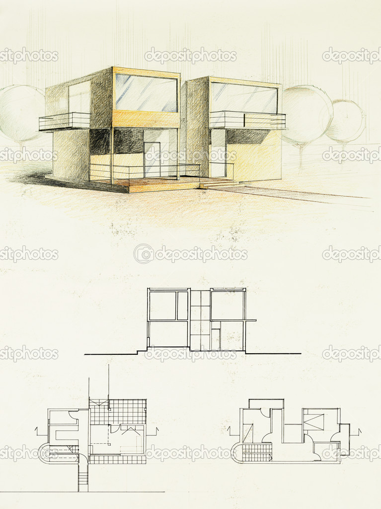 Colored Architectural Blueprint Of Modern House Drawn By Hand Photo Shotsstudio
