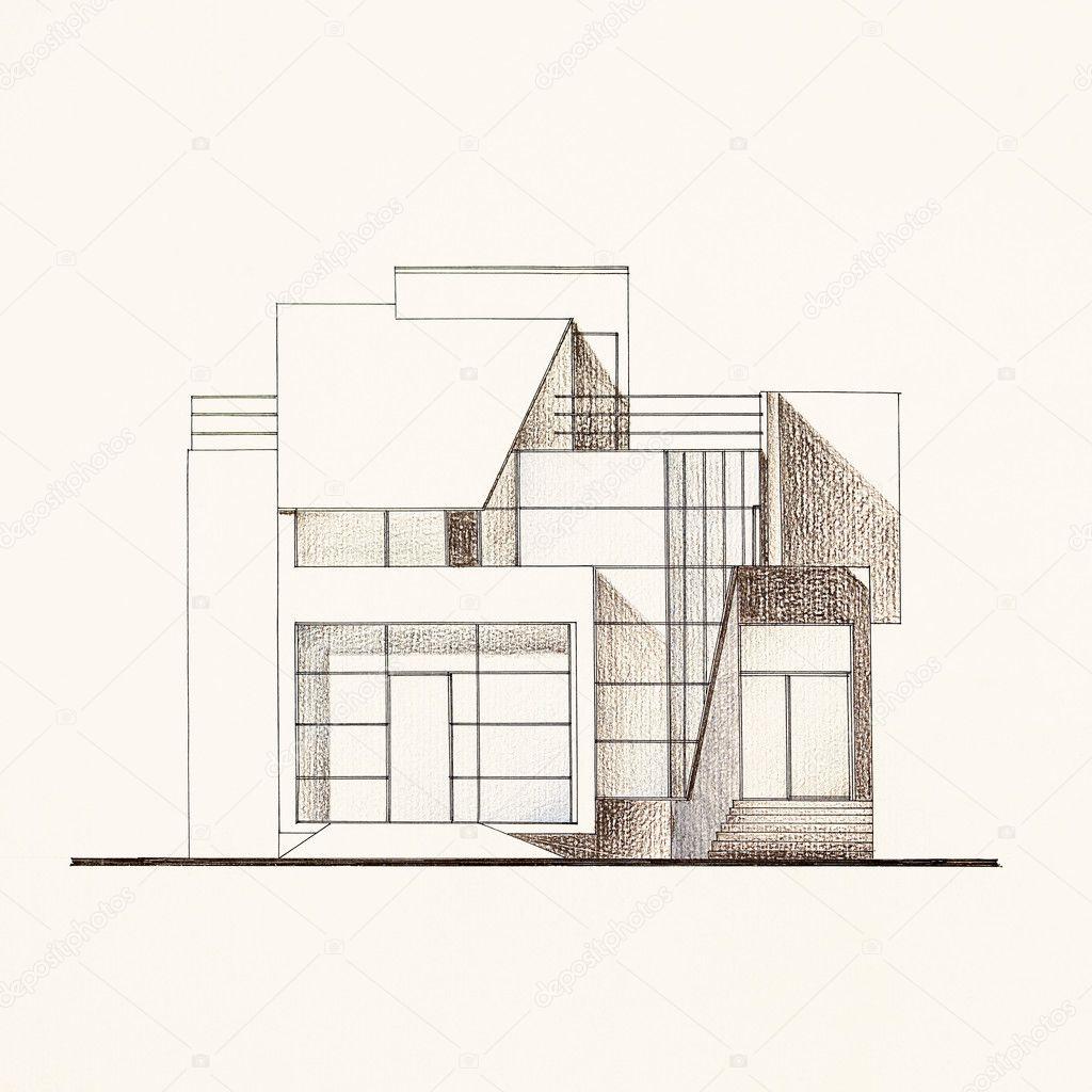 Architectural Facade Blueprint Of A Modern House Stock Photo 10254326