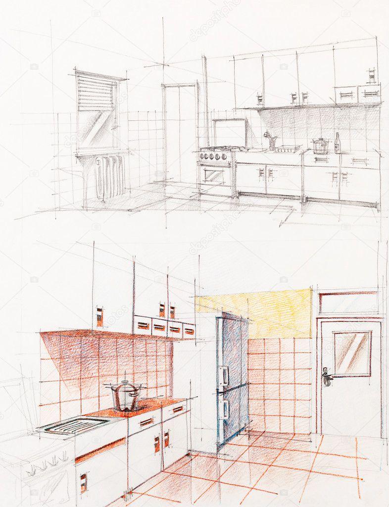 interieur getekende perspectief van appartement keuken — Stockfoto ...