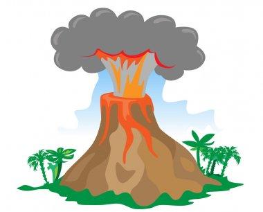 Vector exploding volcano