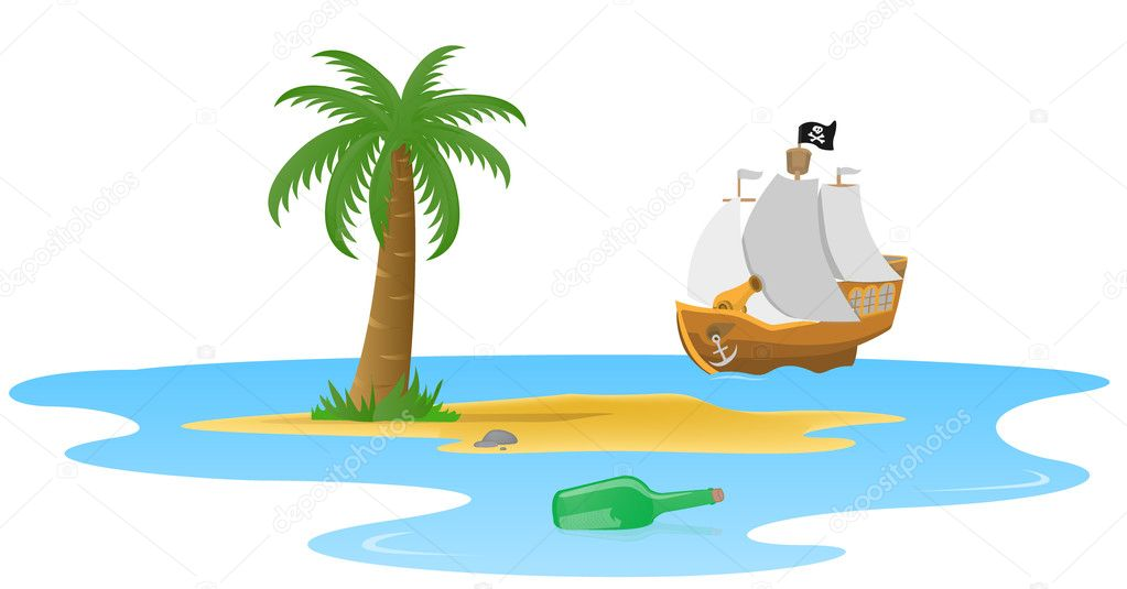 Pirate ship and little island