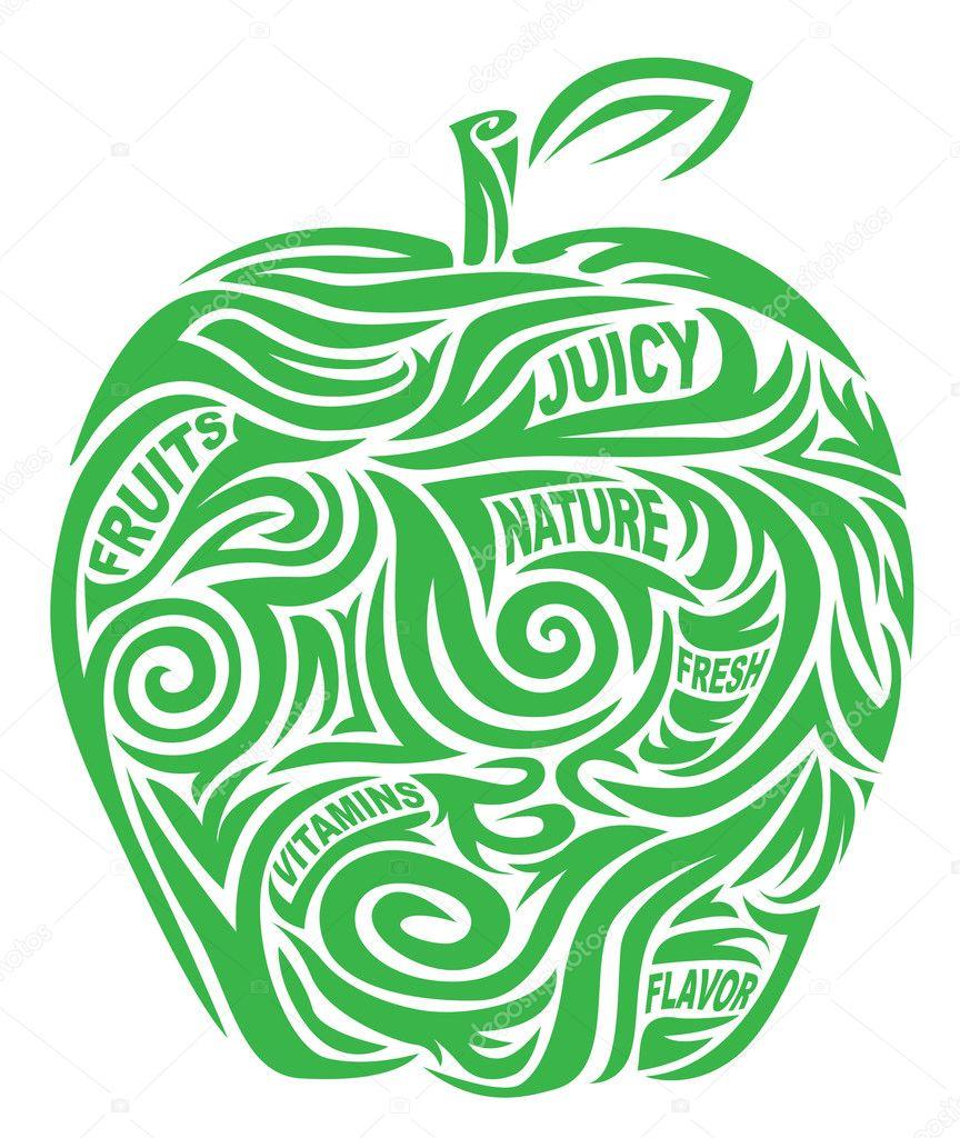 Stylized green apple
