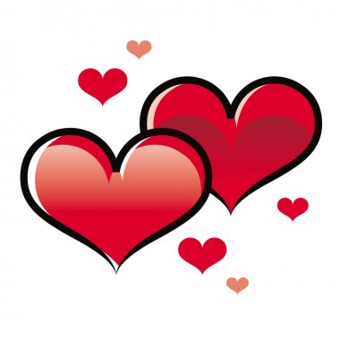 Two hearts love confession decorative Valentines day romance clip art vector