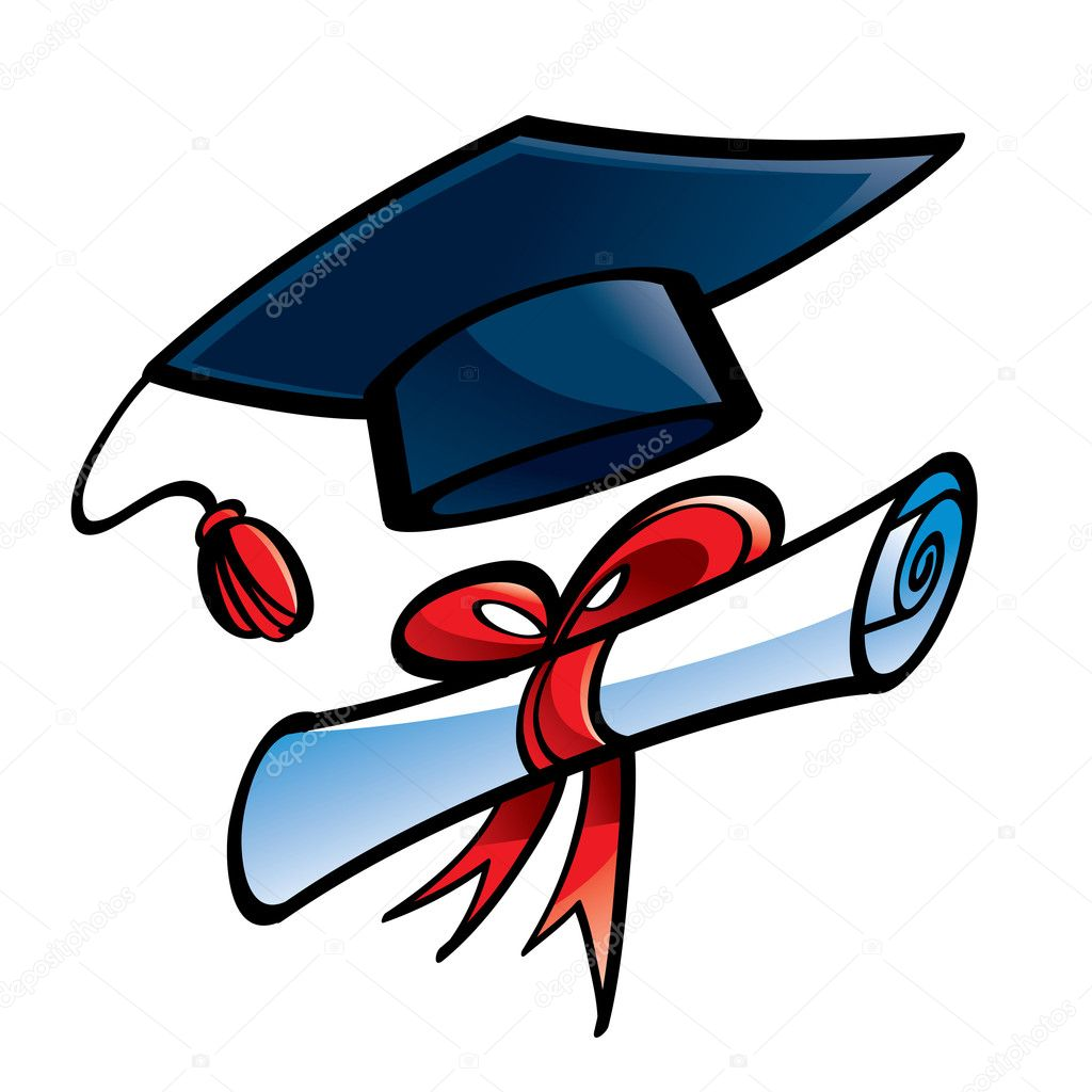 Free coloring pages graduation caps - Education Graduation Cap And Diploma Stock Vector