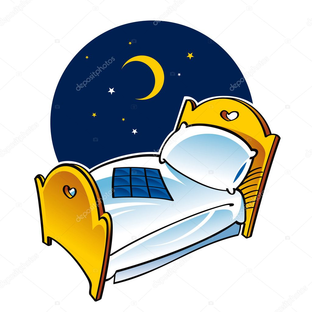 Bed sleep dream night moon blanket pillow — Stock Vector © ofchina ... for Pillow And Blanket Clipart  lp00lyp