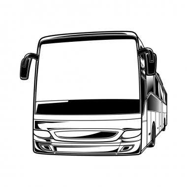 Big vector black and white transport car Bus travel traffic tourist