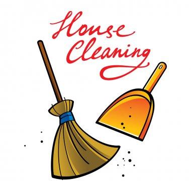 House Cleaning broom brush dust dirt service shovel