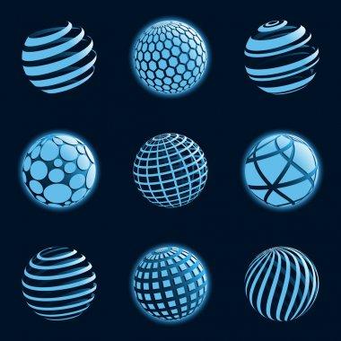 Blu planet icons. Vector illustration.
