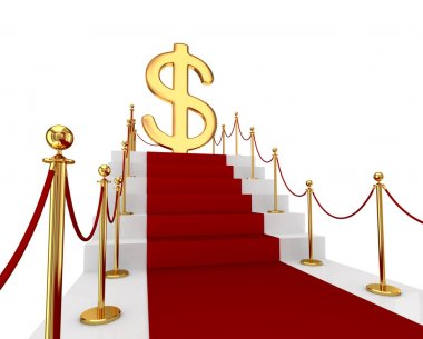 Red carpet on a stairs and green watch.