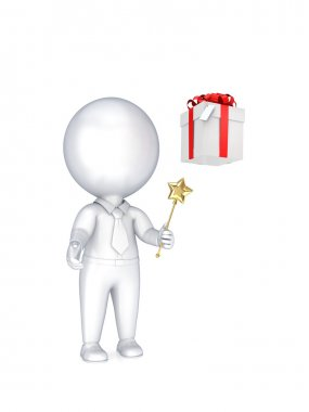 3d small person with a magic wand in a hand and gift box.