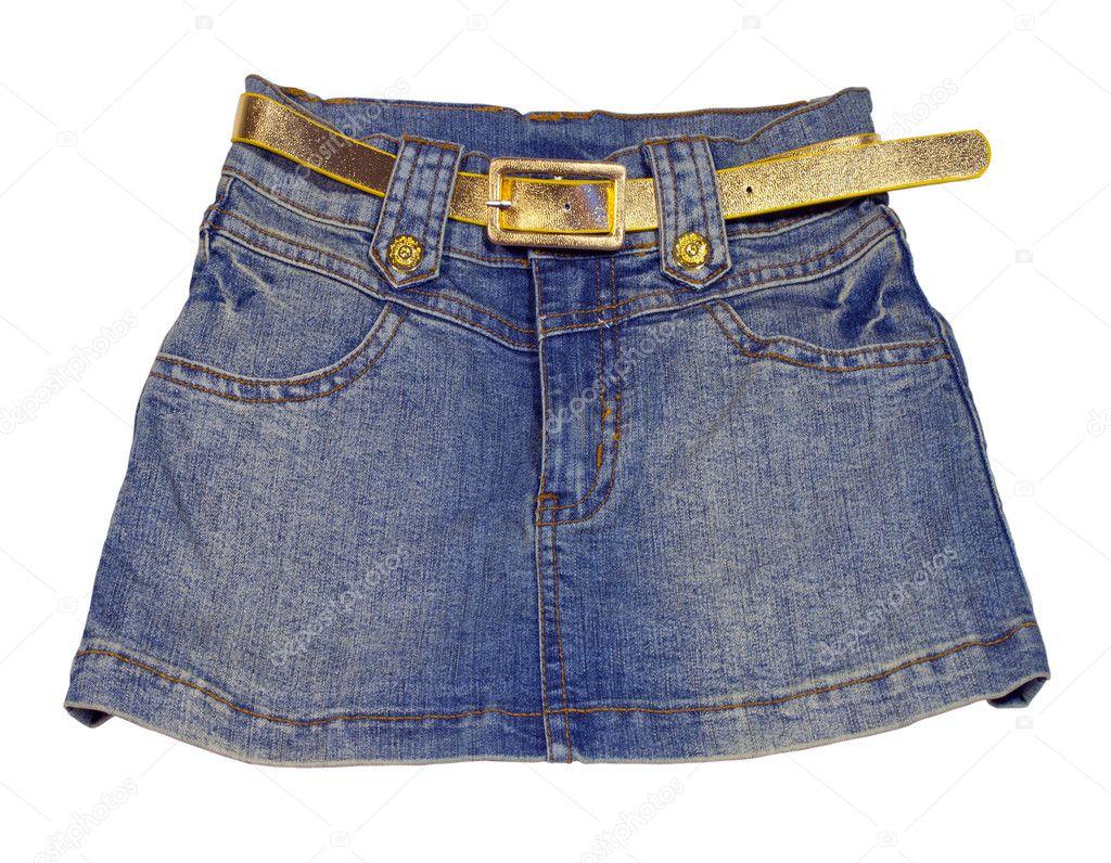 a1687e7da3b Παιδικά τζιν φούστα με ζώνη χρυσή — Φωτογραφία Αρχείου © rukanoga ...