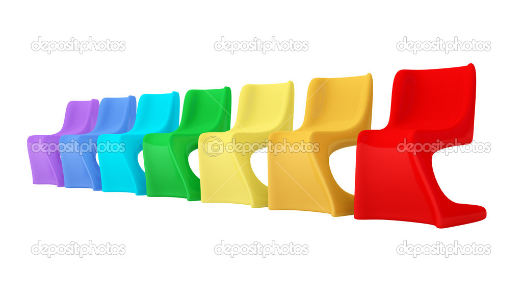 Sedie di plastica colorate moderne — Foto Stock © rukanoga #8432723