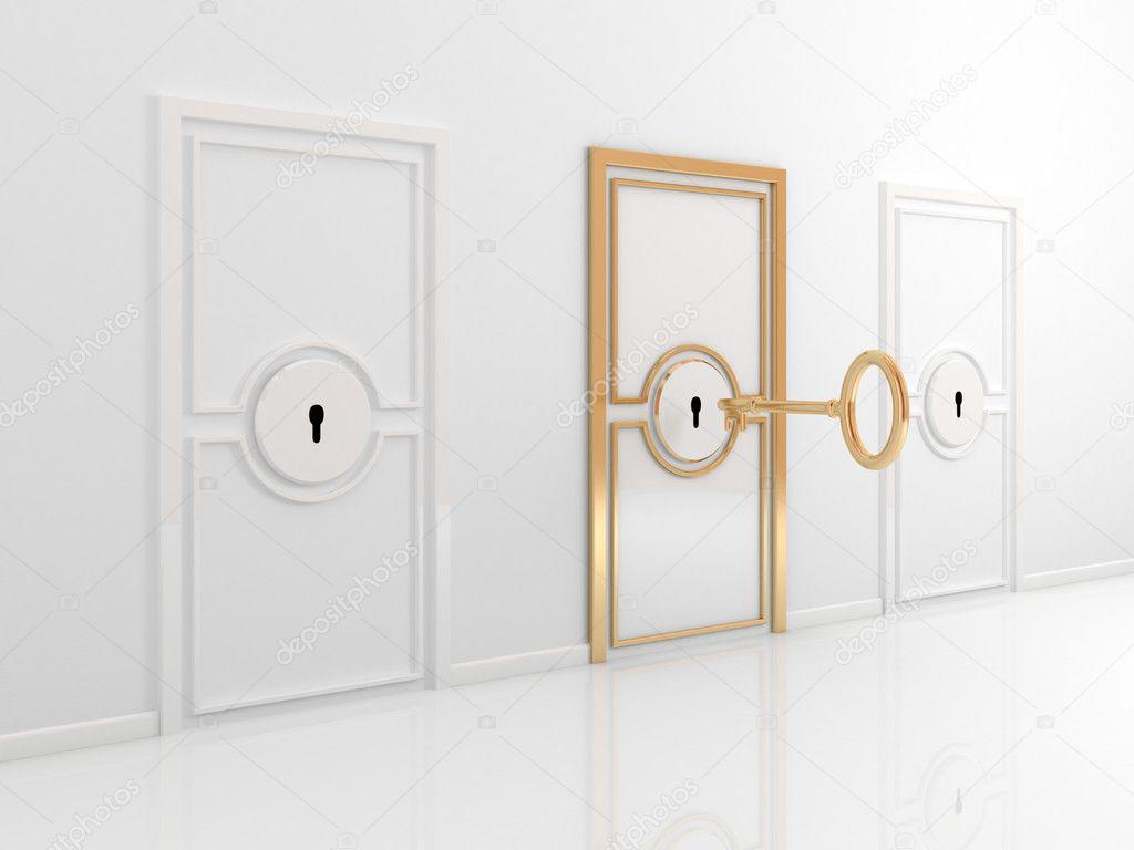 Puerta dorada con llave antigua foto de stock rukanoga - Llaves antiguas de puertas ...