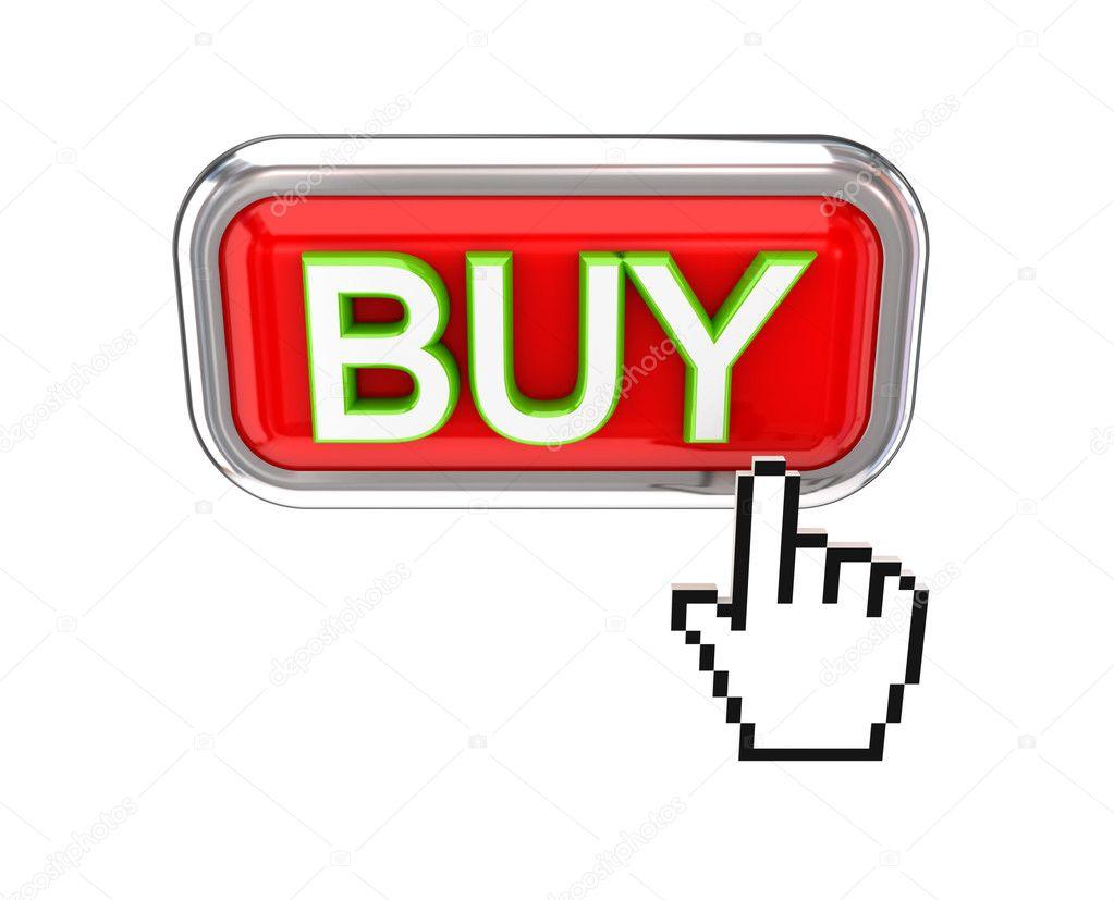 92df156ef801 Курсора, нажав красную кнопку Купить. 3D визуализации. Изолированные на  белом фоне — Фото автора rukanoga