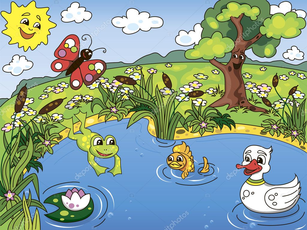 Pond life stock vector shponglerrr 9419937 for Garden pond life