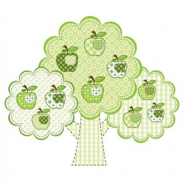 Patchwork green apple tree