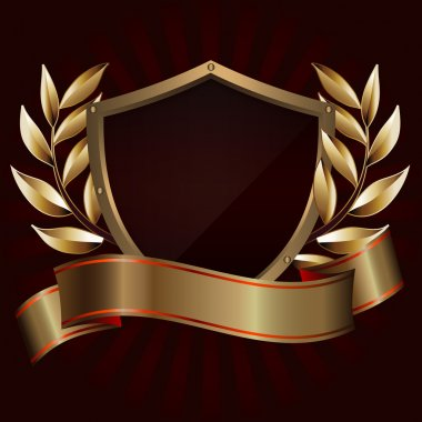 Decorative golden shield.