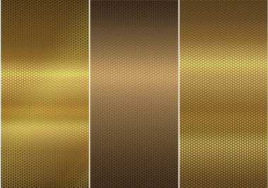 Three gold metal textures.
