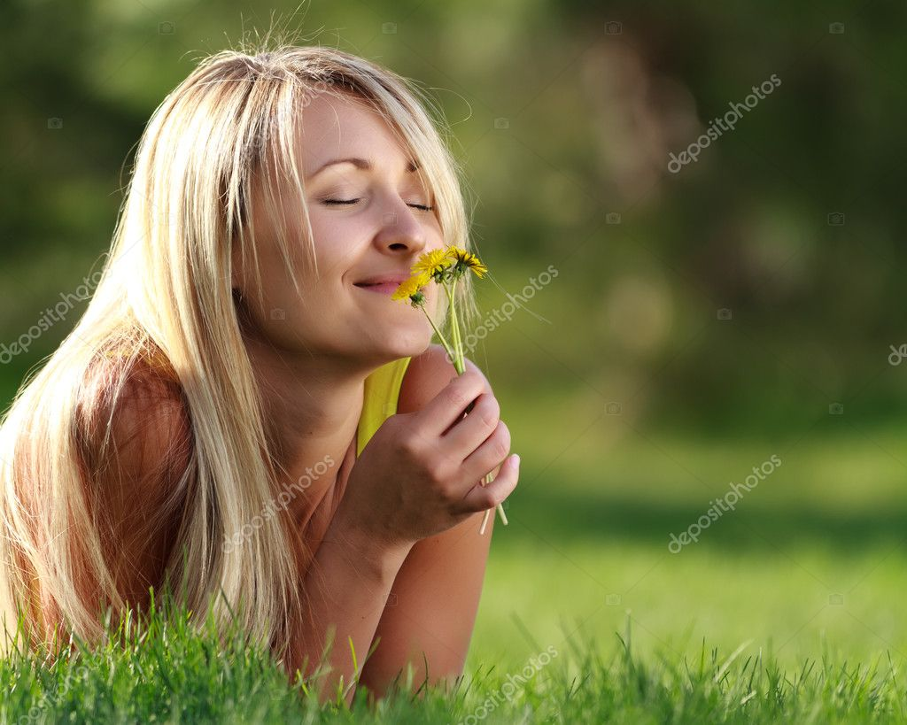 Enjoying outdoors with flowers