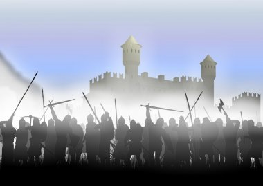 Foot soldiers standing in the fog on the background of the fortress stock vector