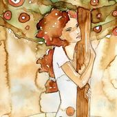 Watercolor of a woman clinging to a tree,