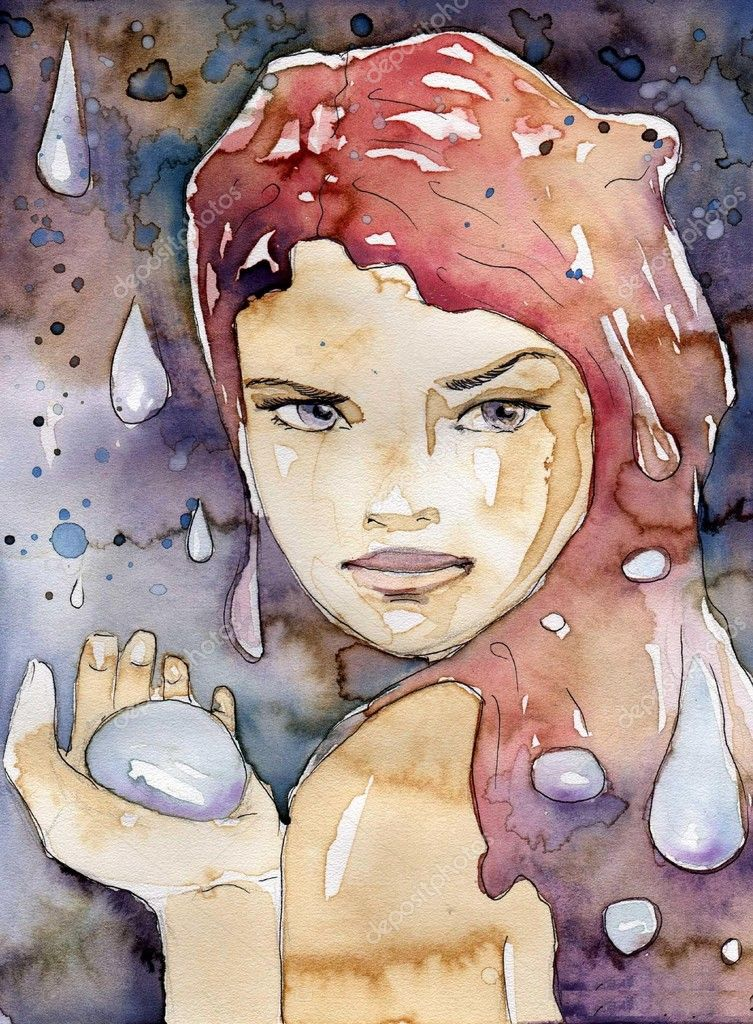 Rain. illustration of a watercolor portrait of a beautiful woman.
