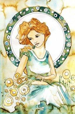 Romantic and pensive girl art novueau