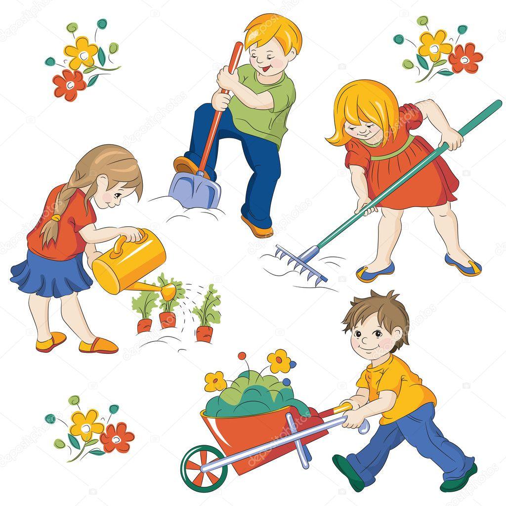 Vegetable garden pictures for kids - Children Workings In A Vegetable Garden Vector By Tiff20