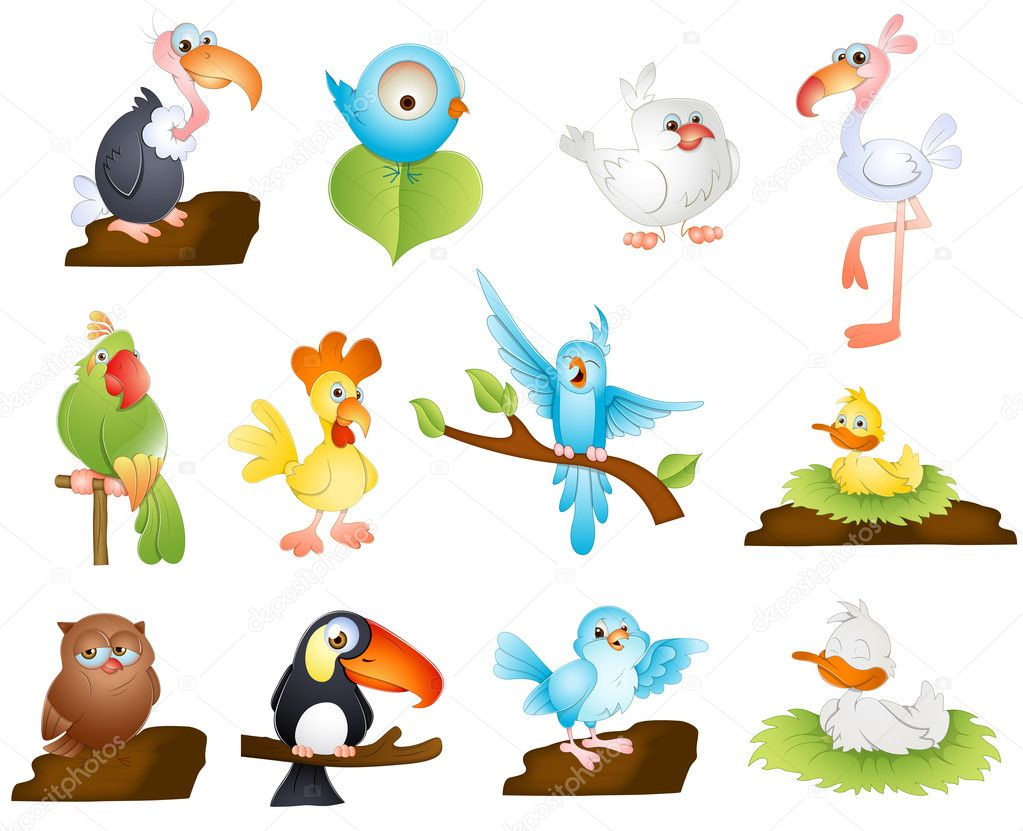 cute cartoon birds u2014 stock vector baavli 10254728