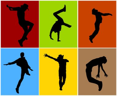 Silhouettes of Various Dance Poses