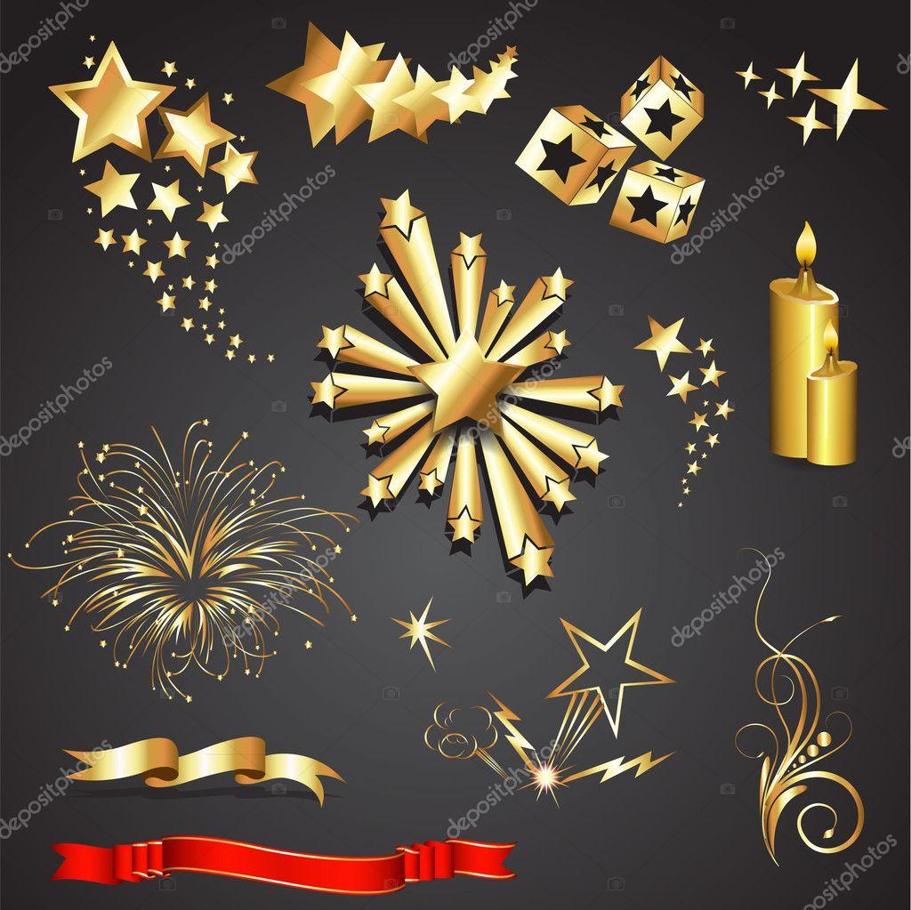 Złote Elementy Dekoracyjne świąteczne Grafika Wektorowa