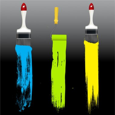 Creative Abstract Decor Design of Paint Strokes with Painting Equipments clip art vector
