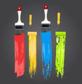 Fotografie Illustration von Farbstrichen mit Pinseln