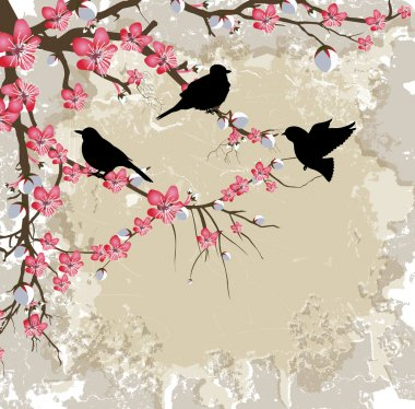 Spring Flower Branch with Birds