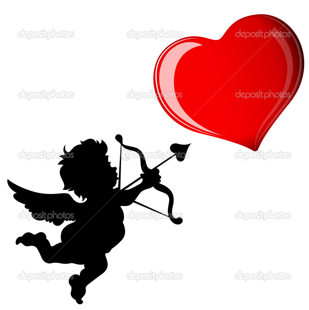Decorative Abstract Design of Cupid Target Heart clipart vector
