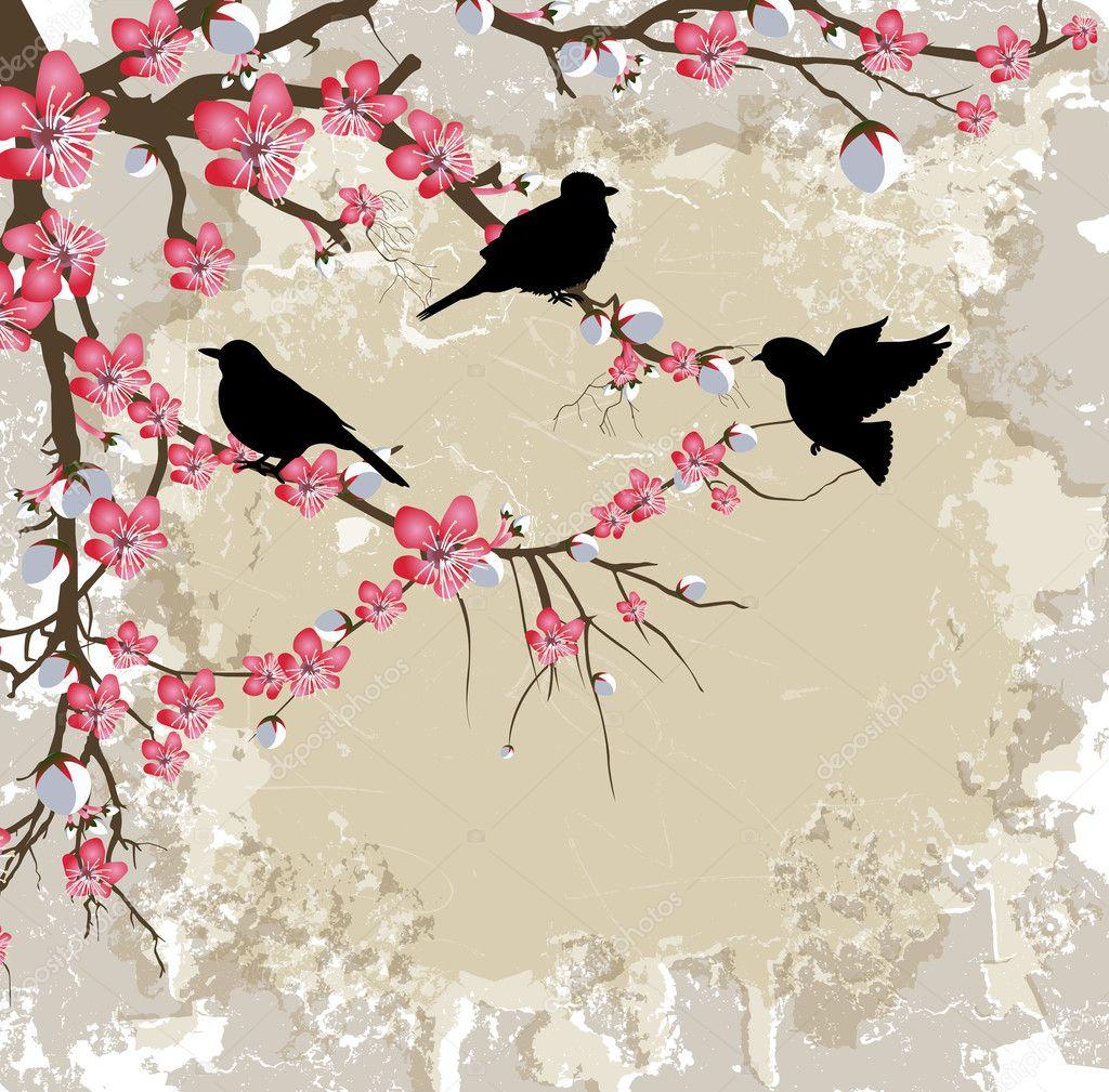 Spring Flower Branch with Birds