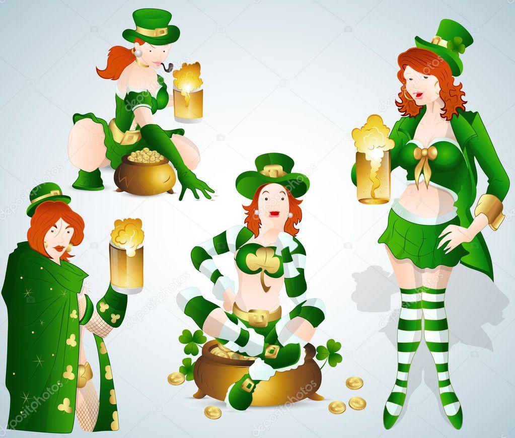 st patrick u0027s day bar leprechaun girls vectors u2014 stock vector