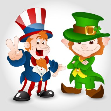 Uncle Sam with Cute Leprechaun