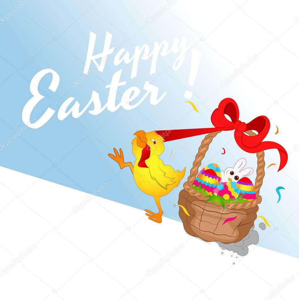 pollo con ilustración de cesta de Pascua — Archivo Imágenes ...