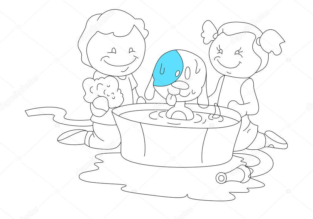 Imágenes: niños jugando con un perro para colorear | dibujo de niños ...